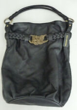 Aqua Madonna X-Large Handbag 100% Genuine Leather Black Shoulder Bag Tote EUC