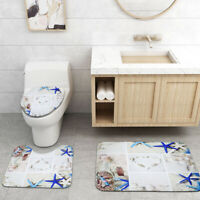 3Pcs Set Ocean Style Toilet Cover Rug Bathroom Mat Waterproof Shower Curtain