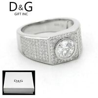 DG Men 925 Sterling Silver,CZ Iced-out.Eternity Wedding Ring 8,9,10,11 12 13*Box