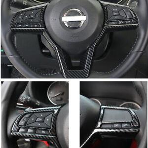 For NISSAN Versa 2020 2021 Carbon Fiber ABS Steering Wheel Decor Frame Trim 3PCS