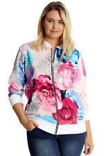 New Womens Plus Size Jacket Bomber Ladies Floral Print Ribbed Coat Sale Nouvelle