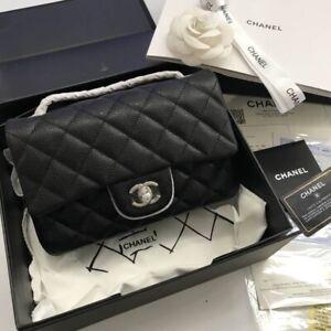 Black Caviar Small Rectangular Rectangle Flap Bag Silver Hardware
