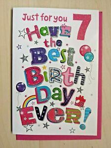 Age 7 Happy Birthday Card - SIMON ELVIN Girl Girls Children Pink Fab 7th Seven
