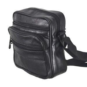 New Leather Messenger / Shoulder Bag Black Travel Utility Ladies Mens Handbag