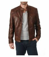 URBAN MENS VINTAGE BROWN GENUINE LEATHER JACKET DISTRESSED SLIM FIT REAL BIKER