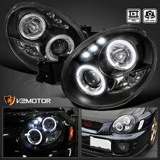 For 02-03 Subaru Impreza WRX Outback Dual Halo LED Projector Headlights Black