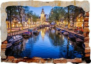 Amsterdam Canals Boats Night 3D Wall Sticker Poster Decal Mural Bedroom Art Z381