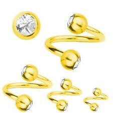 Spiral Twist Piercing Gold Plated Titanium 1,2, SWAROVSKI ELEMENTS White | 6-12