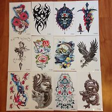 12 Sheets Large Waterproof  Skull Fake Body Temporary Tattoo Stickers Removable