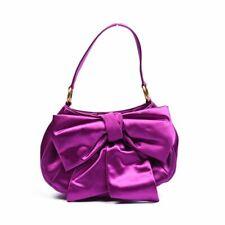 YVES SAINT LAURENT Handbag Purple Satin Bow Front WW 463