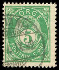 Scott # 39B - 1891 - ' Post Horn ', NORGE in Sans-Serif Caps