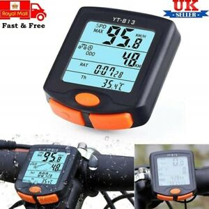 Wired LCD Digital Speedometer Waterproof for Bike Cycle Bicycle - UK Stock