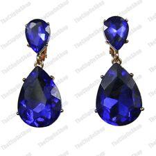 A Clip 4cm gocce di cristallo grande Orecchini Blu Zaffiro Placcata in Oro Luccicante Vetro
