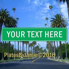 """Personalized Street Sign Any Text Custom Green Background White Text 18"""" x 4"""""""