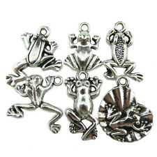 6PCS MIX Vintage Silver Alloy Beach Sea River Theme Lotus Leaf Frog Pendant