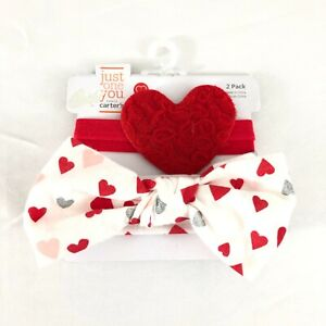 Carters Baby Girls Headbands Bow Heart Glitter Lace Red White 2 Pack