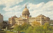 JACKSON, MI Mississippi   STATE CAPITOL 50's Cars & VW Bug   Chrome Postcard