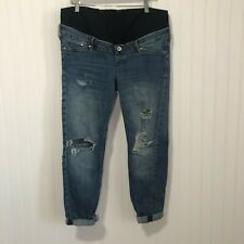 H&M Maternity Full Panel Light Wash Distressed Skinny Ankle Jeans Size 10