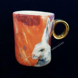 Hard to Find Anthropologie Winter Fauna Rabbit Mug  Easter Bunny Gold Handle