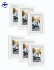 "6 White Picture Frames 6""x8"" (15cm X 20cm) + Mat for 4""x6"" (10cm x 15cm) photos"
