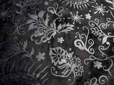 Pigskin suede leather hide Extra large Black w/Floral Scroll Print