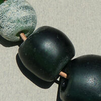 14 old antique green dutch glass beads senegal and mali 1700s #36