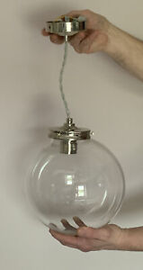 Clear Globe Pendant Ceiling Light Fitting - Excellent Condition