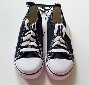 Boys Size 13  FADED GLORY black sneakers tennis chuck shoes taylor canvas NWT!