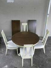 French Painted Dining Table with Four Chairs and Two Leaves  1190