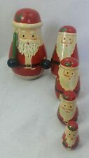 Set of 5 Vintage Wooden Santa Christmas Themed Russian Nesting Stacking Dolls