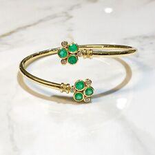 Temple St Clair Bracelet Bellina Open Bangle 18K Diamond Emerald Retail $7500
