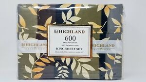 Highland Collection 100% Egyptian Cotton 4 pc, 600 Tread, KING size, deep pocket