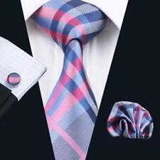 Classic Purple Tie Plaid Silk Mens Necktie Set Jacquard Woven Strips Tie C-467