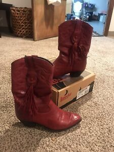 Laredo Womens Cowboy Red Boots With Fringe 9.5 M Western Cowgirl USA