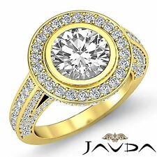 Round Diamond Engagement GIA I VS2 18k Yellow Gold Halo Pave Classic Ring 3.5ct