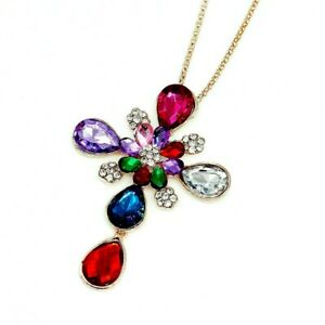 """NWT Betsey Johnson EXQUSITE CROSS Multi Color CRYSTAL Pendant NECKLACE 27""""Chain"""