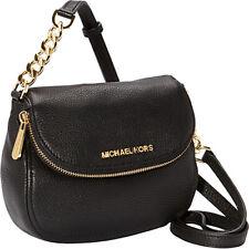 Michael Kors Bedford Black Leather Zip Flap Gold Chain Crossbody Shoulder Bag