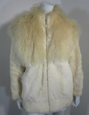 Rabbit Lamb Fur full Zip Pocket Coat Size M Medium Ivory Burning Man PPD
