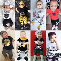 Newborn Kids Baby Boy Girl Clothes Romper Top T-shirt+Pants Outfits Set