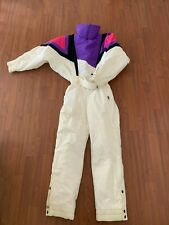 VTG Women's Ski Suit 1980s Pink Purple Colorblock Nylon Waterproof Size Medium