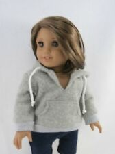 """Cute Grey Hoodie With Strings for your American Girl Doll or other 18"""" Dolls"""