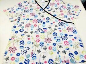 SB Scrubs Flowers Save The Planet Medium Floral Scrub Short Sleeve Shirt Top M