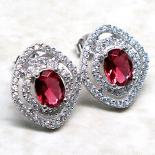 LOVELY 3 CT RUBY 925 STERLING SILVER MICRO PAVE STUD EARRINGS
