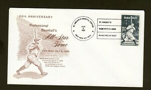 50th MLB All Star Game 1983 USPS First Day Cover & Babe Ruth Stamp St Vincent