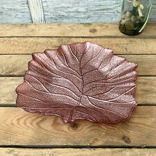 Metal & Glass Pink Autumn Leaf Jewellery Trinket Dish Decorative Plate Tray Gift