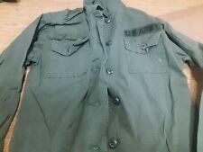 Vtg 1975 US Army OG 107 Utility Shirt used Vietnam Era Poplin Womens 8 Rip Stop