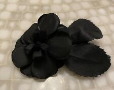 """Lovely VINTAGE CHANEL FRENCH CAMELLIA 4"""" FLOWER BROOCH/PIN Black Silk w/ leaves"""