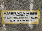 Original Porcelian AMERADA HESS CORP. Tex Harvey Spraberry Unit Lease Sign