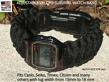 15 16 17 18 mm Black Adjustable Survival Paracord Watch Band Casio Seiko Others
