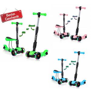3-in-1 Kinder Roller Kinderroller Scooter verstellbare Höhe mit Sitz LED Räder